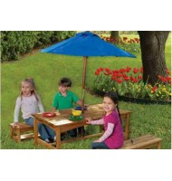 Stół i Ławki z Niebieskim Parasolem Table and Benches with Blue Umbrella KidKraft 00043